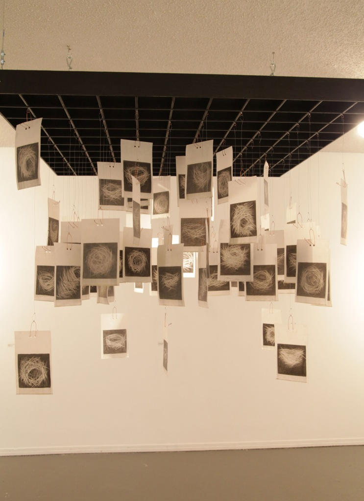 "Installation view, suspension: 75 small void nests 44"" x 44"" x 60"" approx; charcoal on vellum, dipped in wax; each image 4"" x 4"""