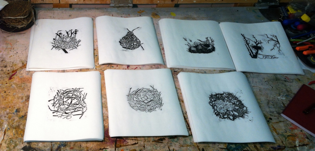 Seven Limited Edition, hand carved and pulled block prints of Nests will be in the chapbook ...